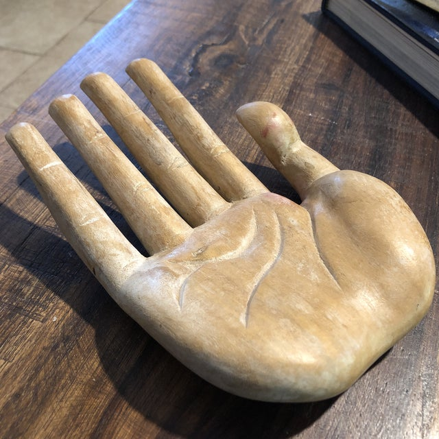 Wood Vintage Bohemian Carved Wood Human Hand Sculpture For Sale - Image 7 of 7