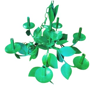 Large Kelly Green Palm Beach Regency Leaf Design 6 Arm Chandelier For Sale