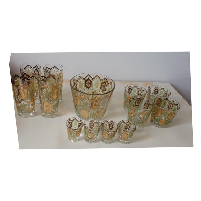 Vintage Gold Green Ice Bucket With Glasses - Set of 13 For Sale - Image 11 of 12