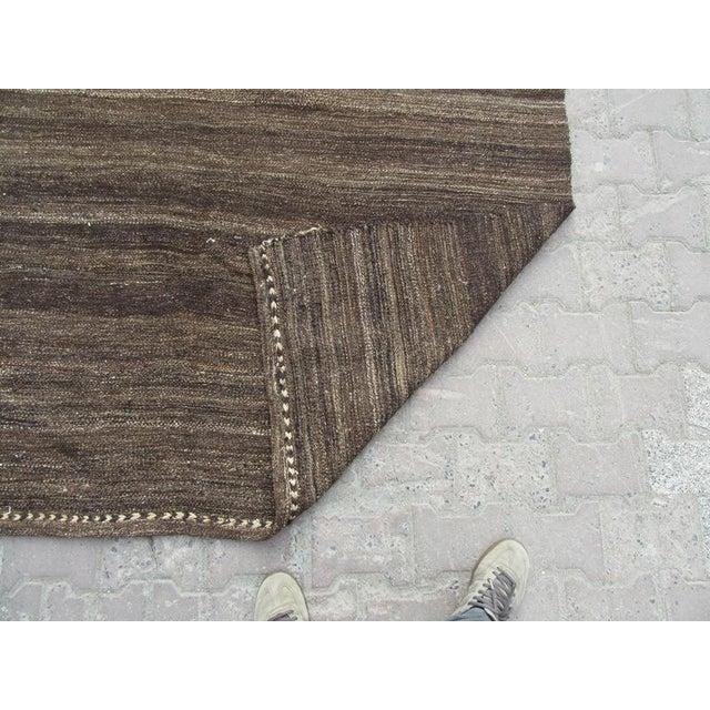"Vintage Brown Goat Hair Kilim Rug - 5'9"" x 10'7"" For Sale - Image 5 of 6"
