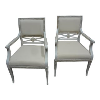 Original Painted Swedish Gustavian Arm Chairs For Sale