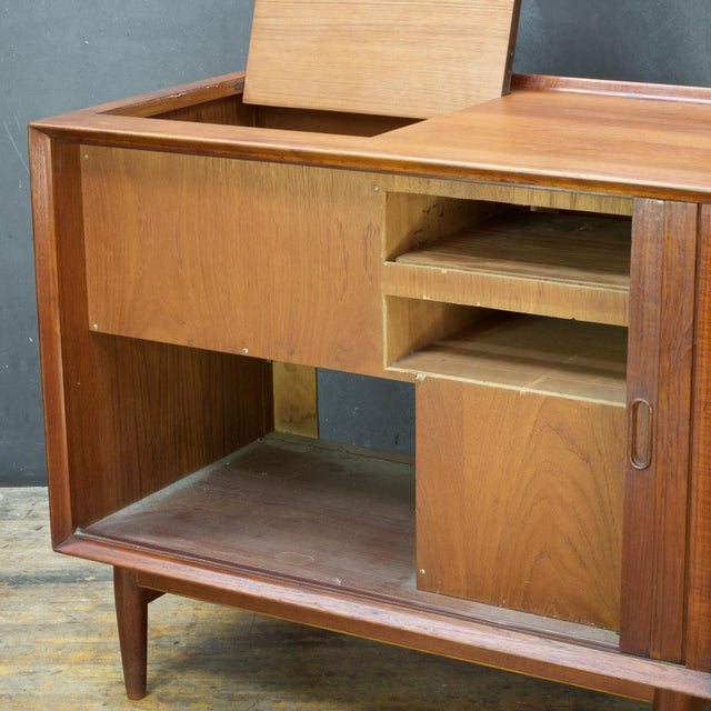 Teak Arne Vodder Hifi Cabinet Teak Tambour Petite Stereo Credenza Danish Midcentury For Sale - Image 7 of 10