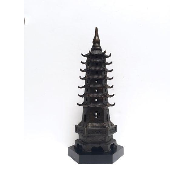 Vintage Metal Pagoda Figurine on Wood Base - Image 2 of 9