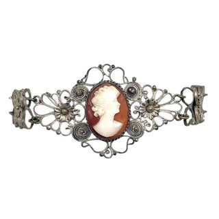 C1930s Silver-Plated Filigree Cameo Bracelet For Sale