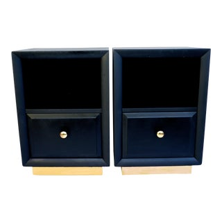 t.h. Robsjohn-Gibbings for Widdicomb Mid-Century Modern Matte Black & Gold Nightstands - a Pair