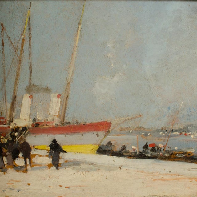"""19th Century """"Harbor During Date"""" Maritime Oil Painting Signed A. Michel, Framed For Sale In Philadelphia - Image 6 of 10"""