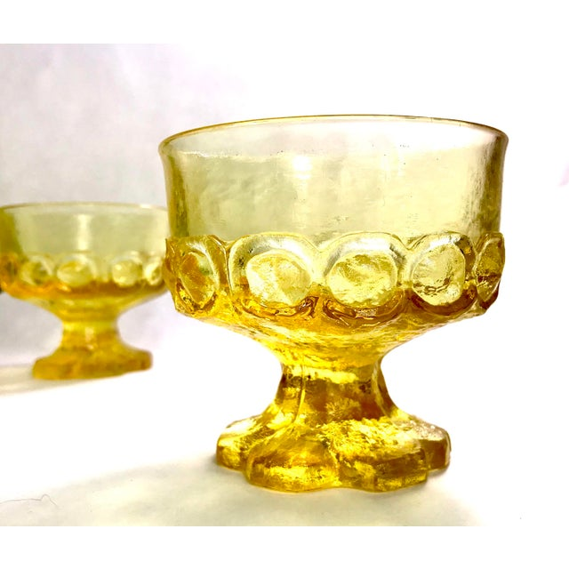 Mid-Century Modern Mid-Century Tiffin Franciscan Madeira Olive Green and Cornsilk Yellow Sorbet Glasses- Set of Six For Sale - Image 3 of 6