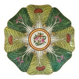 Image of Mid 20th Century Porcelain Bok Choy Leaf & Butterfly Decorative Scalloped Plate For Sale