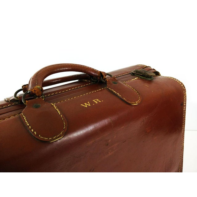 Vintage Brown Leather Suitcase - Image 4 of 6