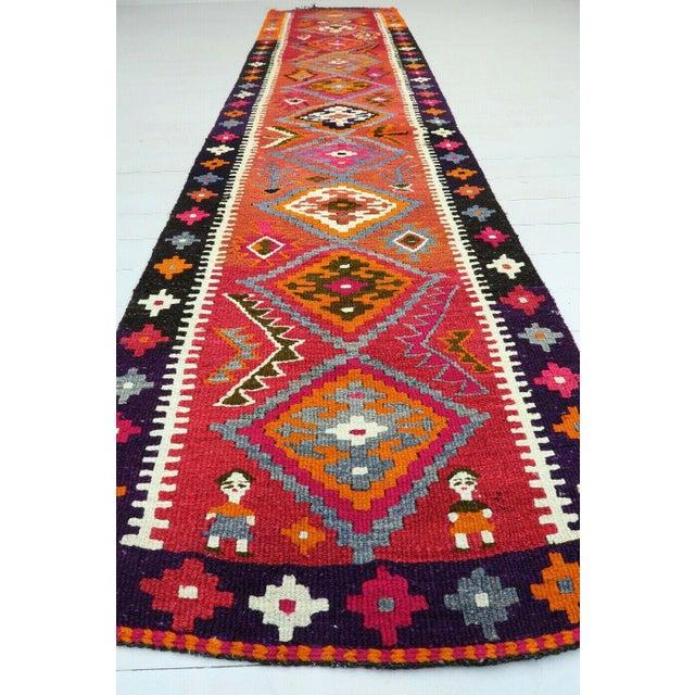 Mid-Century Modern Vintage Turkish Kilim Runner Rug For Sale - Image 3 of 12