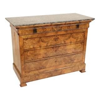 Antique Louis Philippe Style Burl Walnut Chest of Drawers For Sale