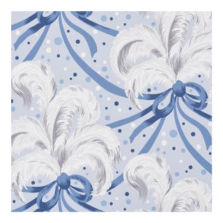 Schumacher X Paul Poiret Plumes Et RubansWallpaper in Blue For Sale