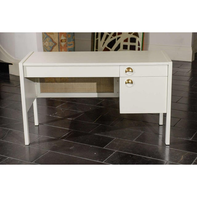 Beautiful Landstrom Modern Desk in Cream Lacquer For Sale - Image 10 of 11