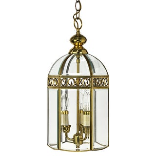 Brass and Beveled Glass Six Sided Three Cluster Bird Cage Style Lantern For Sale