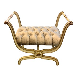 Hollywood Regency Carved Curule X Bench For Sale
