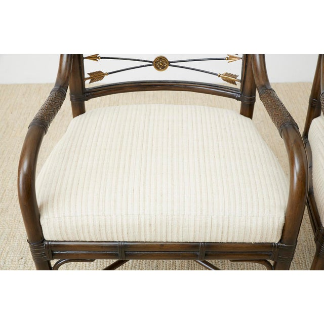 Set of Four Neoclassical Style Rattan Dining Armchairs For Sale - Image 12 of 13