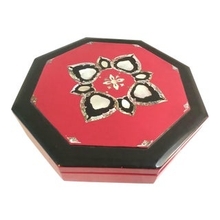 1970s Japanese Mother of Pearl Red Lacquer Box