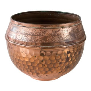 French Hammered Copper Bowl Planter For Sale