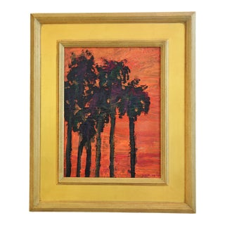California Palm Trees at Sunset Impressionist Painting by Juan Guzman For Sale
