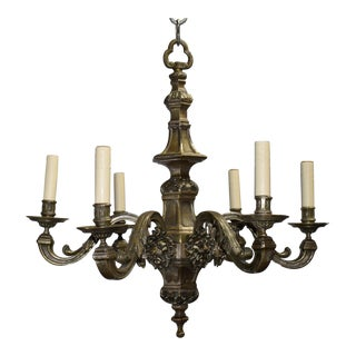 Antique chandelier, silver over bronze For Sale