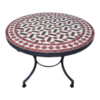 Red / Brown / White Moroccan Mosaic Table For Sale
