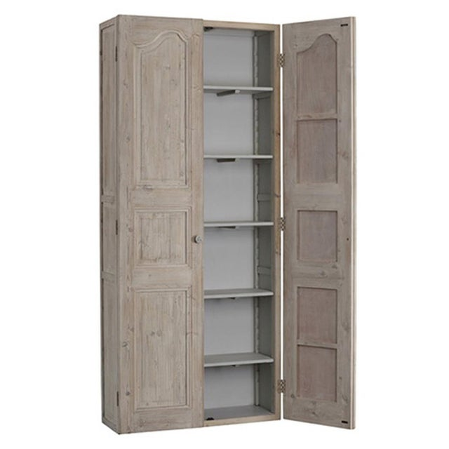 This attractive reclaimed pine and birch cabinet features a distressed light grey finish. With five adjustable interior...