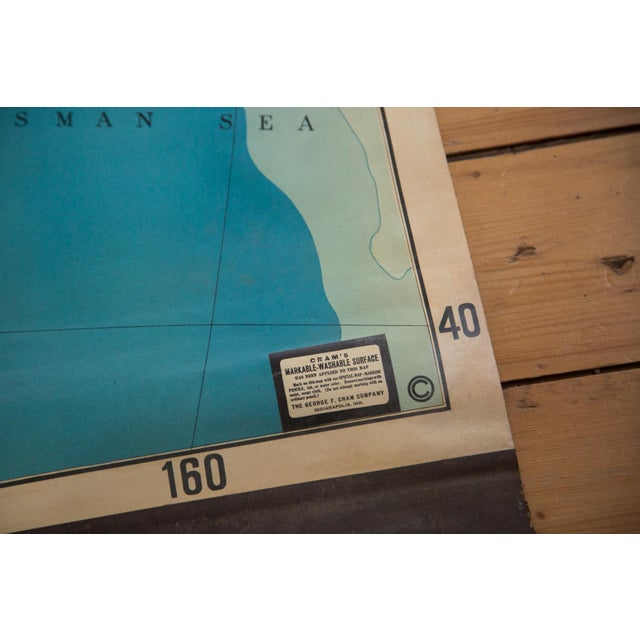 Children's Vintage Cram's Pull Down Map of Australia For Sale - Image 3 of 5