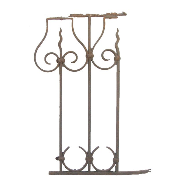 Pair of lovely, old French iron fence panels; very rustic. Genuine patina and wear -- lovely as garden or wall decoration....