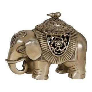 Antique Tibetan Handicraft White Bronze Elephant Incense Burner For Sale