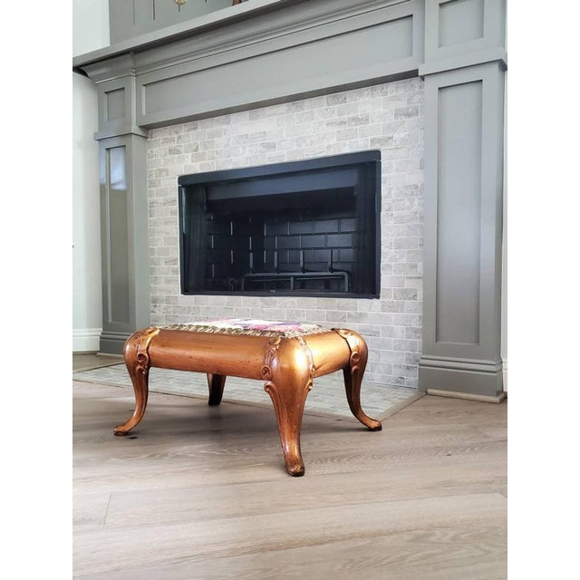 Figurative Antique Asian Gilt Bronze Cast Iron Upholstered Stool For Sale - Image 3 of 11