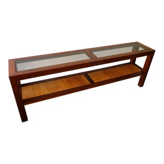 Mid-Century Walnut Smoke Glass & Cane Console Table