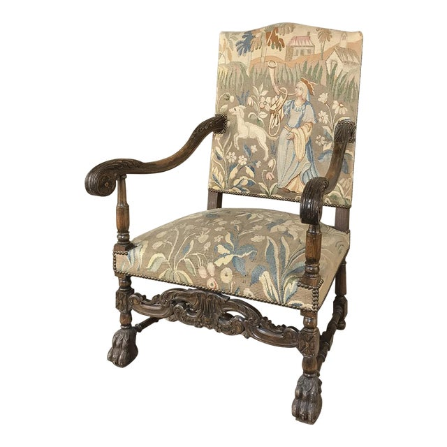 19th Century French Louis XIII Armchair With Tapestry For Sale