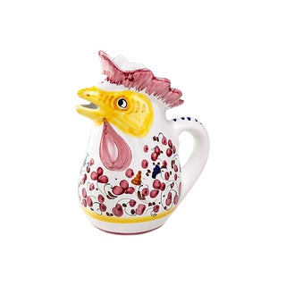 Madcap Cottage Italian Ceramic Rooster Pitcher For Sale