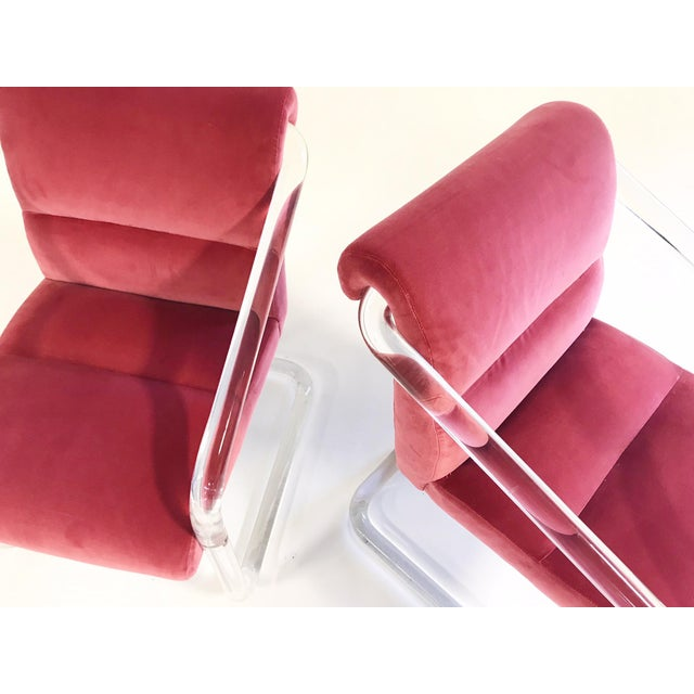 1980s Vintage Lion in Frost Lucite Chairs Restored in Loro Piana Pink Velvet With Gucci Pillows - Pair For Sale - Image 5 of 11