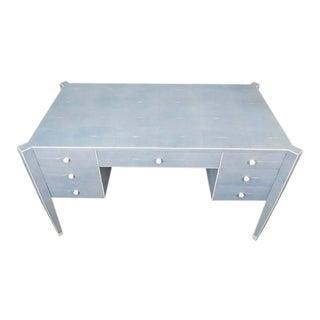Custom Blue Shagreen and Bone Desk For Sale