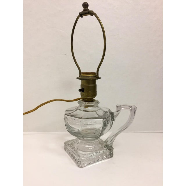 Greek Key Pressed Glass Electrified Oil Lamp For Sale - Image 9 of 9