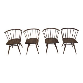 Set of Four Sculpted Spindle Back Chairs For Sale