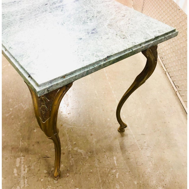 French Louis XV Style Petite Cast Brass Table With Verde Antico Marble Top For Sale In New York - Image 6 of 9