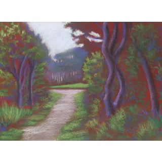 Contemporary Pastel Painting of Mendocino Coast Botanical Garden Path For Sale