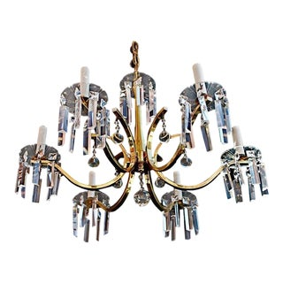 Brass Crystal Chandelier in the Style of Tommi Parzinger For Sale