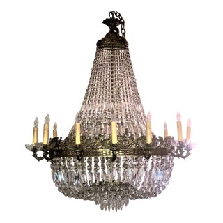 Antique French Bronze d'Ore and Crystal Chandelier, Circa 1880.