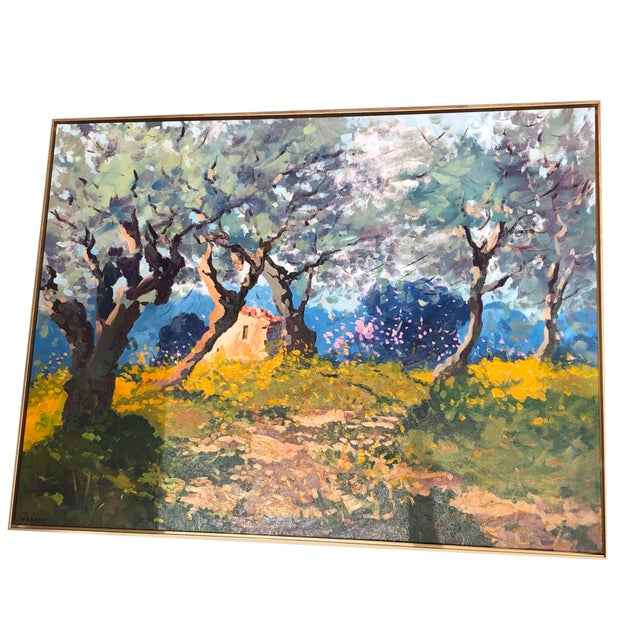 Aqua Contemporary Tuscan Hand Scrape Painting For Sale - Image 8 of 8