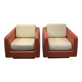 1970s Retro Fiberglass Lounge Chairs- A Pair For Sale