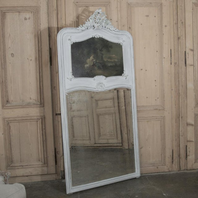 19th Century French Louis XV Painted Trumeau/Mirror For Sale In Baton Rouge - Image 6 of 8