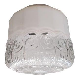 Circa 1940 Art Deco White/Clear Glass Pendant Light Fixture For Sale