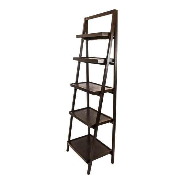 Contemporary Dark Wood Five-Tier Leaning Bookcase For Sale