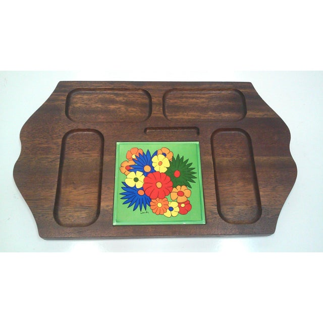 Mid-Century Modern Mid Century Carved Hardwood Tile Tray For Sale - Image 3 of 9