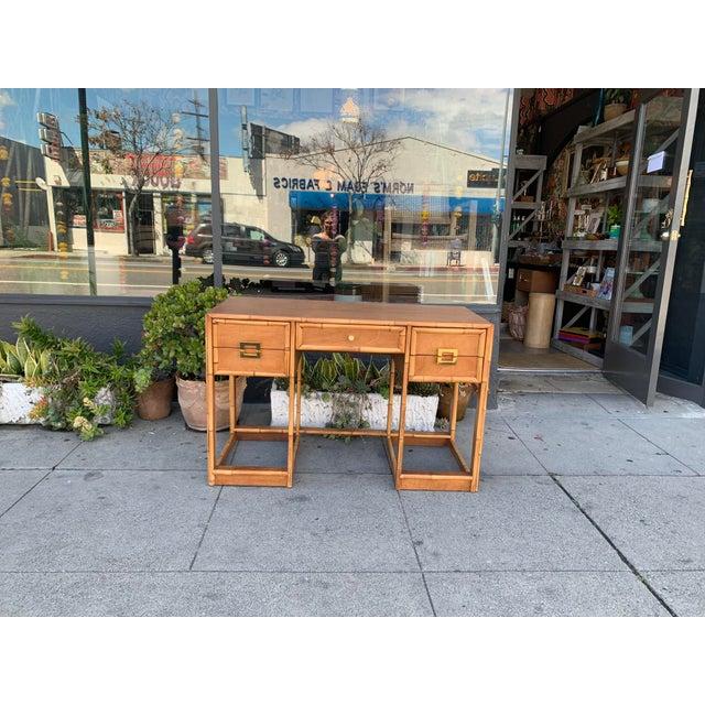 Brown Mid-Century Vintage Bamboo Trimmed Desk For Sale - Image 8 of 11