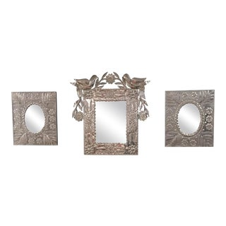 Vintage Mexican Punched Tin Mirrors - Set of 3
