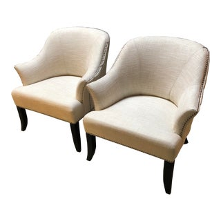 White Nailhead Club Chairs - A Pair For Sale